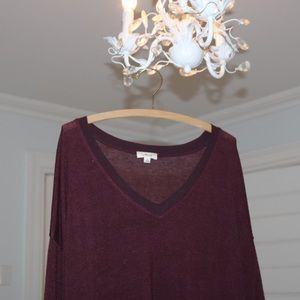 Aritzia Wilfred asymetrical v-neck sweater in wine